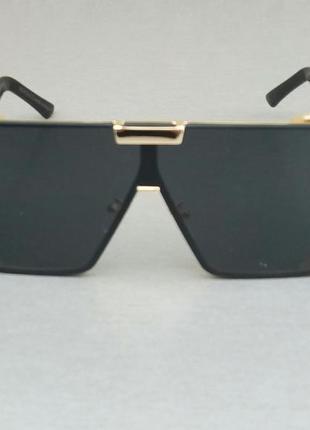 Versace очки маска женские солнцезащитные большие черные с золотом
