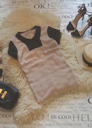 Блуза, футболка летняя, классика, кружево от h&m короткий рукав