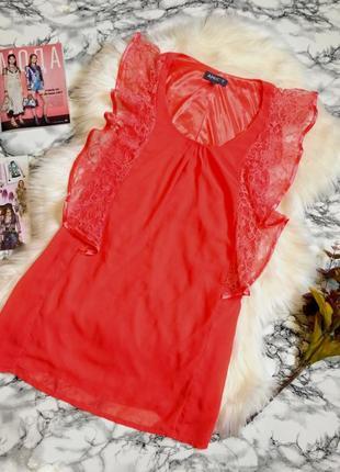 Красивое нежное шифоновое платье с кружевом размер 8-10 (40-42)
