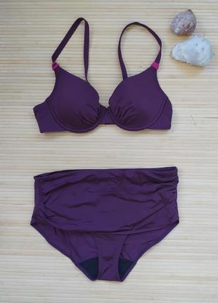 Купальник фиолетовый высокие плавки бюстгальтер 75b femilet chantelle group