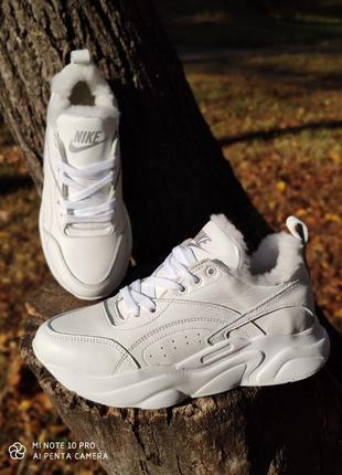 Натуральная кожа! белые зимние кроссовки на меху