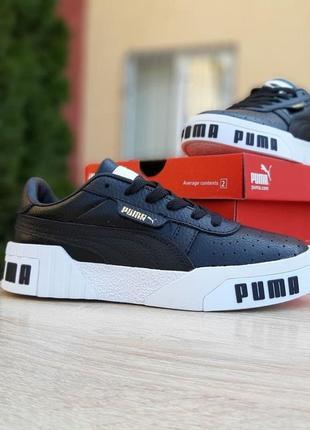 Puma cali🆕шикарные женские кроссовки🆕черно-белые кожаные кеды пума🆕жіночі кросівки🆕весна10 фото