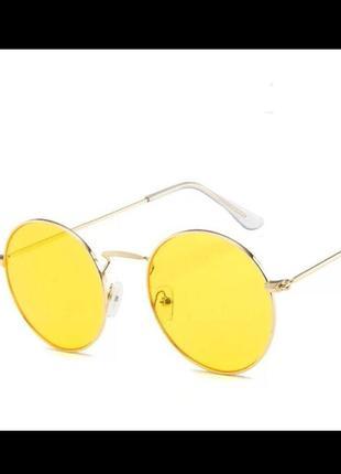 Стильные круглые очки с жёлтой линзой