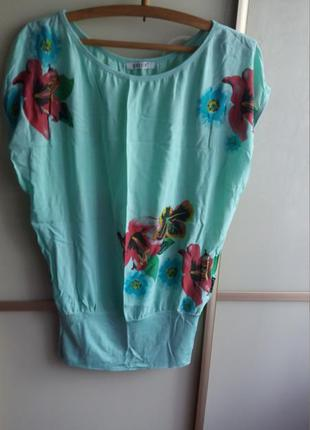 Батистовая, легкая бирюзовая блуза. батал.