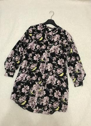 Платье рубашка в цветочный принт