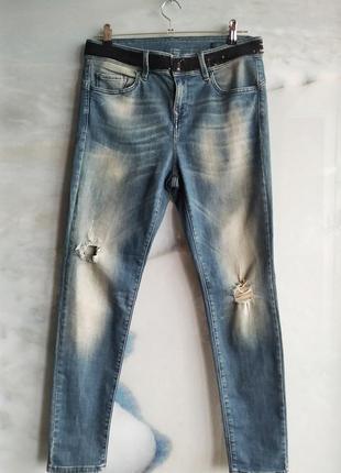 Стильные джинсы на высокой посадке с пайетками на талии benetton jeans