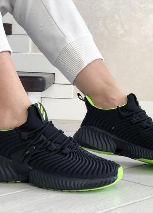 Женские кроссовки adidas alphabounce instinct (чёрные с салатовым) #адидас