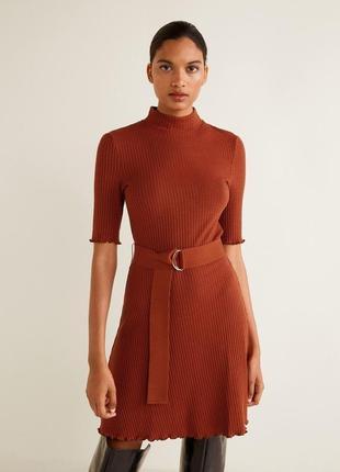 Платье мини в рубчик с поясом mango m