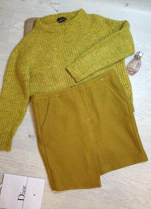 Стильная шерстяная ассиметричная юбка миди мини