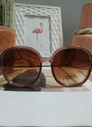 Тренд 2021 большие очки солнцезащитные круглые квадратные коричневые ретро окуляри великі4 фото