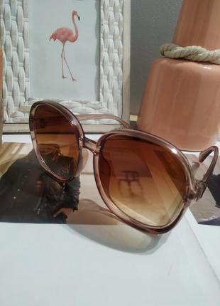 Тренд 2021 большие очки солнцезащитные круглые квадратные коричневые ретро окуляри великі5 фото