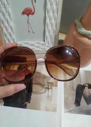 Тренд 2021 большие очки солнцезащитные круглые квадратные коричневые ретро окуляри великі7 фото