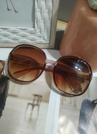 Тренд 2021 большие очки солнцезащитные круглые квадратные коричневые ретро окуляри великі6 фото