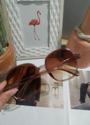 Тренд 2021 большие очки солнцезащитные круглые квадратные коричневые ретро окуляри великі8 фото