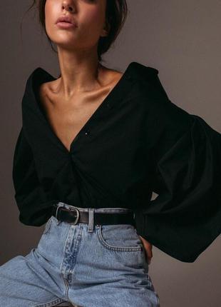 Рубашка с объемным рукавом