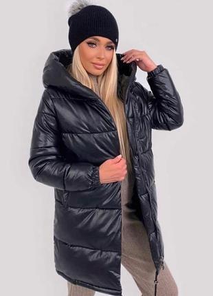 Теплая кожаная черная куртка зефирка эко-кожа