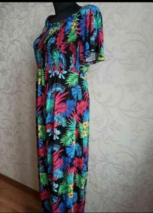 Чорна літня сукня в тропічний принт, листя2 фото