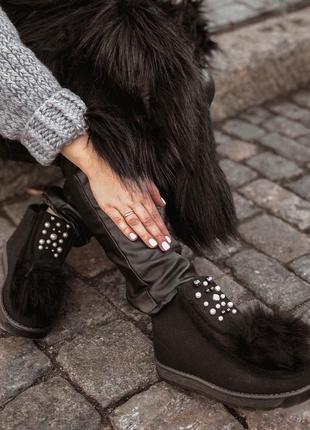 Уютные ботиночки с мехом и бусинами