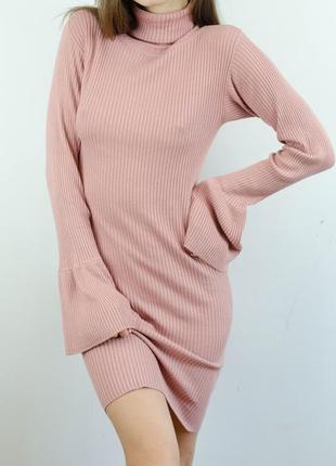 Primark трикотажное розовое миди платье гольф с высоким воротом в рубчик рукавами воланами