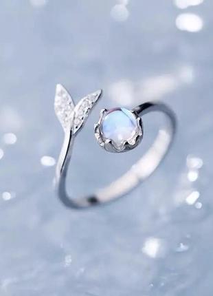 Кольцо с лунным камнем посеребрение 925'