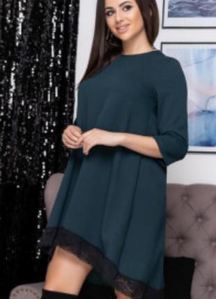 Свободное платье с широким кружевом