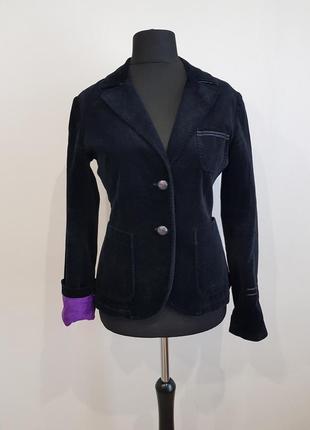 Черный бархатный велюровый пиджак жакет nationality италия