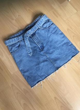 Джинсовая юбка с поясом sinsay