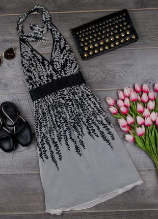 Платье шелковое черно-белое от express размер uk 10 наш р. 44