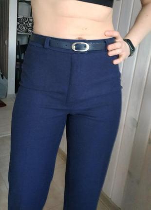 Теплые шерстяные брюки темно синего цвета mad pants ticino