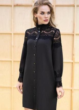 Стильное женское платье-рубашка с гипюром 38-70 размера