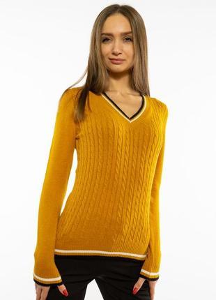 Пуловер женский с v-образным вырезом