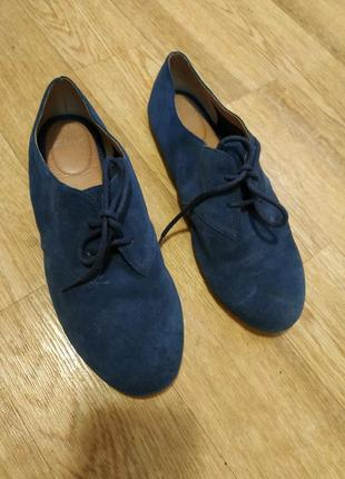 Замшевые ботиночки тапочки туфли кроссовки кожаные синие
