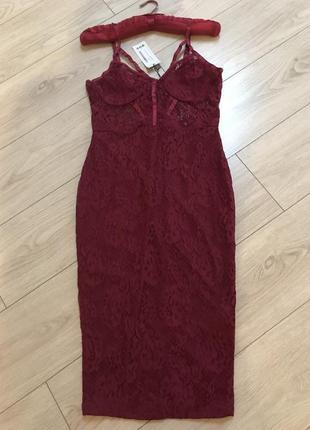 Платье миди кружевное бельевое чашки косточки облегающее вечернее нарядное сексуальное