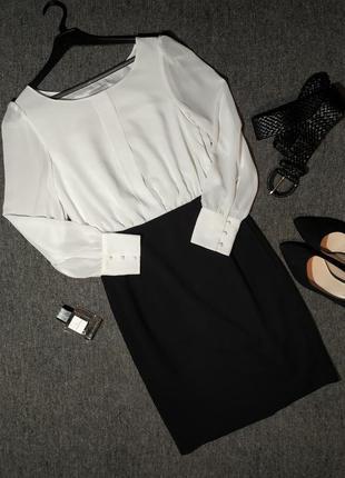 Красивое силуэтное платье / офисное платье белая блуза черная юбка карандаш