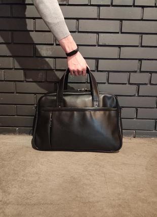 Кожаная дорожная сумка с экокожи сумка для спорта путешествий