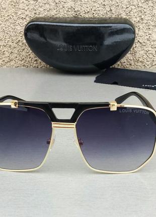 Louis vuitton очки женские солнцезащитные черные в золоте