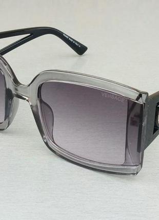 Versace очки женские солнцезащитные серые с черными дужками