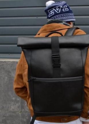 Вместительный кожаный рюкзак с экокожи роллтоп ролтоп