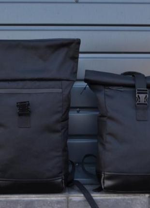 Вместительный рюкзак роллтоп ролтоп дно с экокожи, отделение под ноутбук