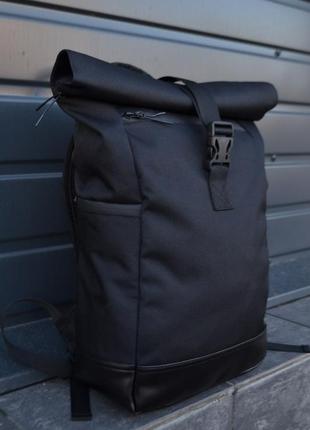 Крепкий рюкзак роллтоп ролтоп экокожа отделение под ноутбук дополнительные карманы