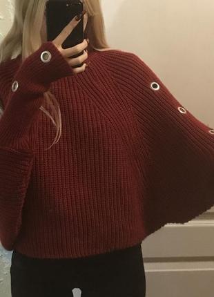 Шерстяной свитер кофта с люверсами