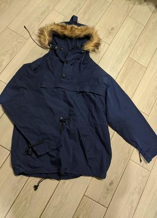 Новый анорак с натуральным мехом куртка ветровка