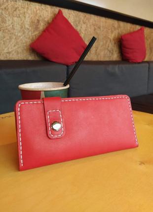 Кожаный женский кошелек ручной работы