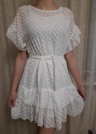 Белое воздушное платье free size