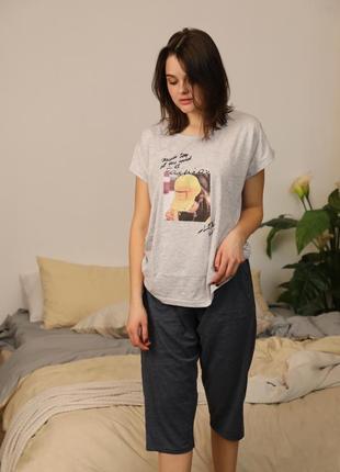 Трикотажный батальный домашний костюм/пижама капри и футболка 50-56