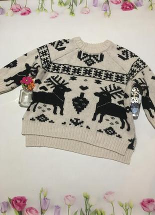 Стильный тёплый свитер в оленях