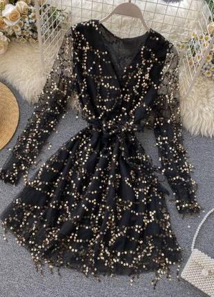 Шифоновое платье на подкладке черное, черное с золотом, золотое, серое