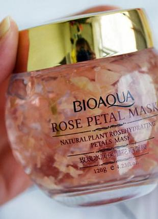 Ночная смягчающая маска для лица с лепестками роз bioaqua rose petal mask