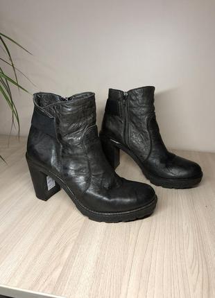 Кожаные полусапожки черевики деми ботильоны коричневые