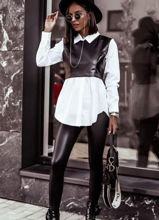Белая рубашка+ жилет кожаный красивая кофточка блузка женская рубашка на работу офис школа